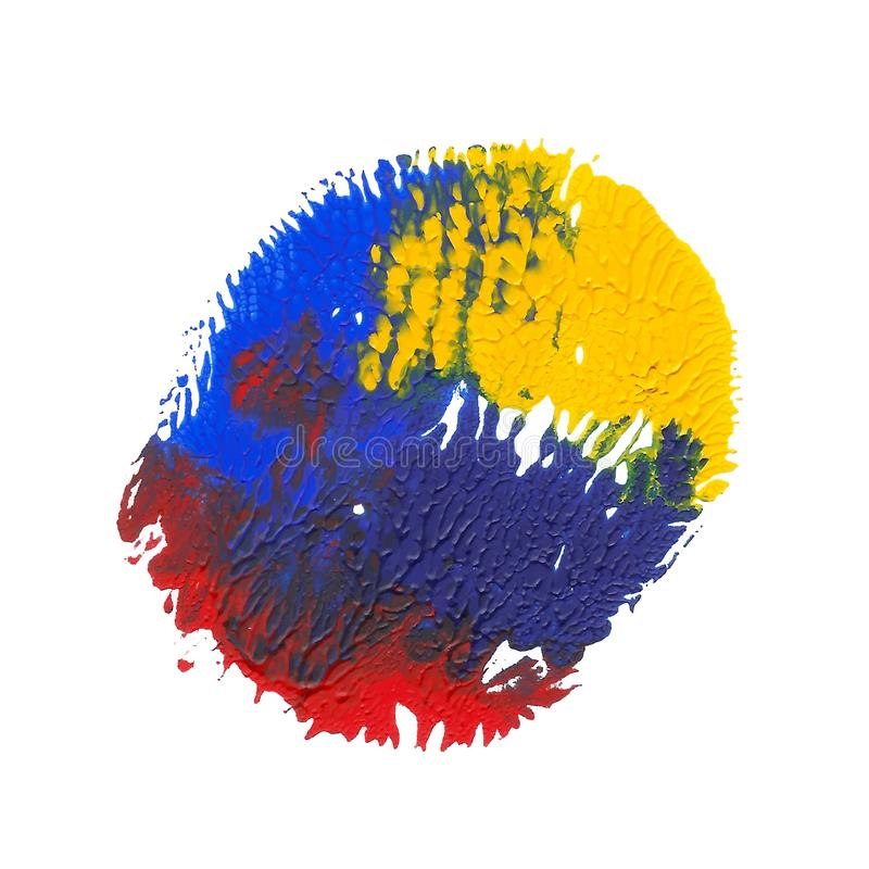 Yellow, blue, red bright acrylic paint abstract monotyped spot royalty free illustration