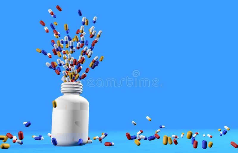 Yellow, blue and red medicine capsules flying out of the inside of a white plastic jar and falling to the floor in a messy stock illustration