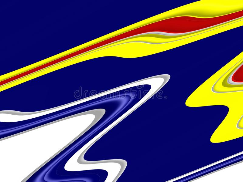 Yellow blue red phosphorescent waves fluid shapes, geometries background on black background royalty free stock images