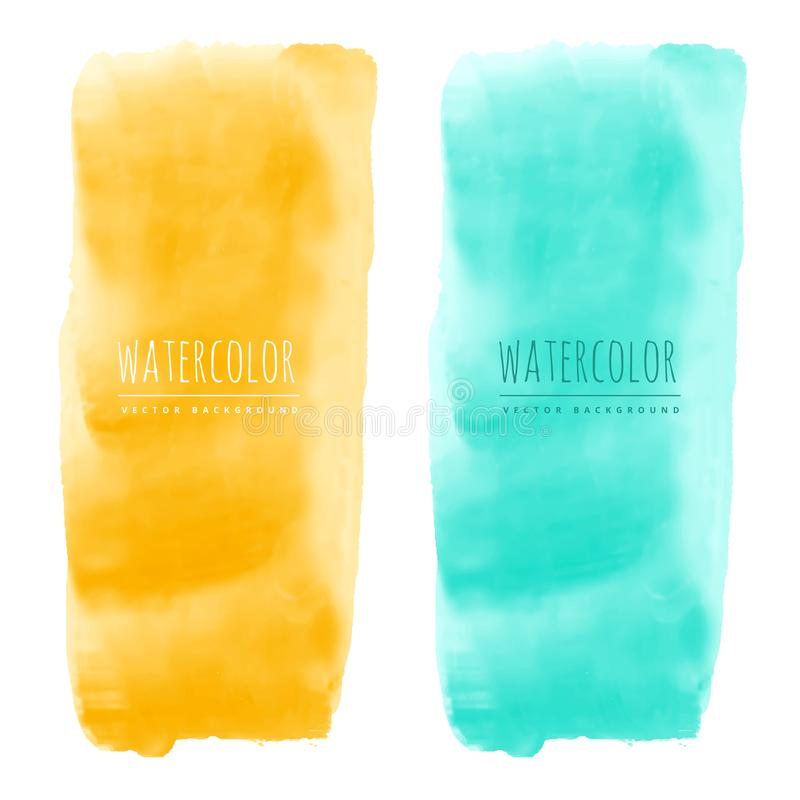Yellow and blue watercolor stain vector banners stock illustration