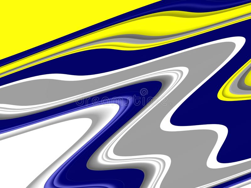 Yellow blue white waves fluid shapes, geometries background on black background royalty free stock photography