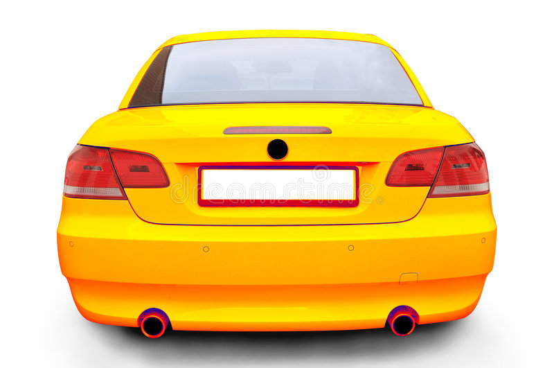 Yellow BMW 335i convertible car. An Yellow BMW 335i convertible sports car's back royalty free stock photo