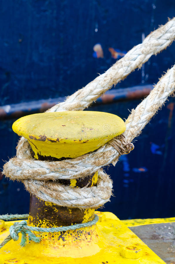 Download Yellow Bollard stock image. Image of pier, bollard, mooring - 19569749