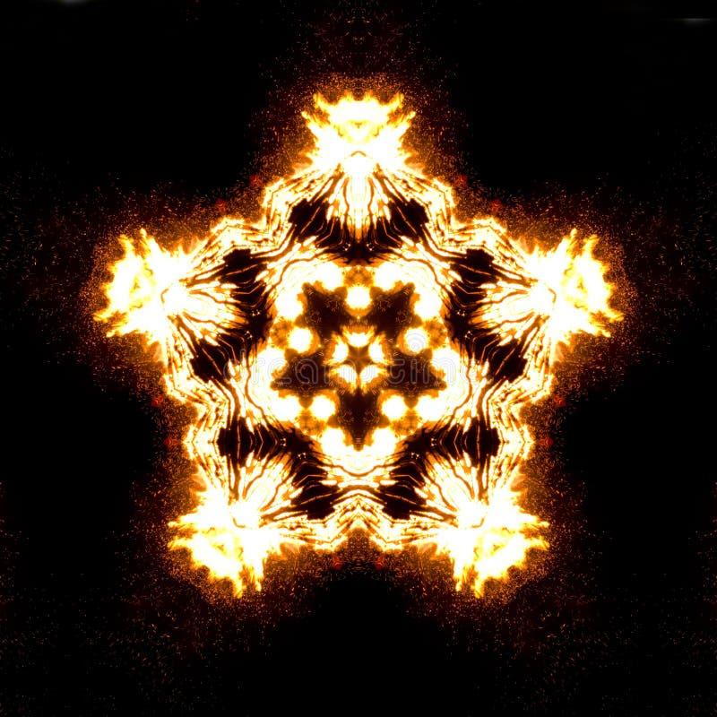 Yellow bonfire kaleidoscope stock image