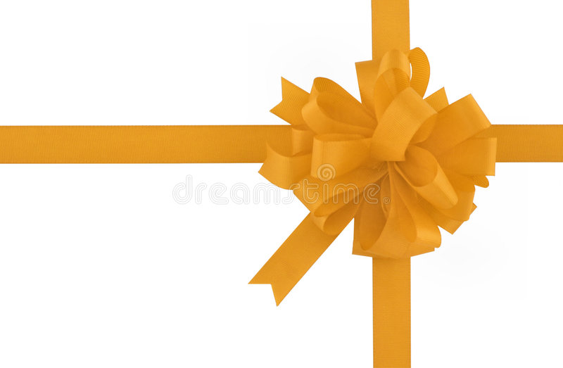 Yellow bow and ribbon stock photography
