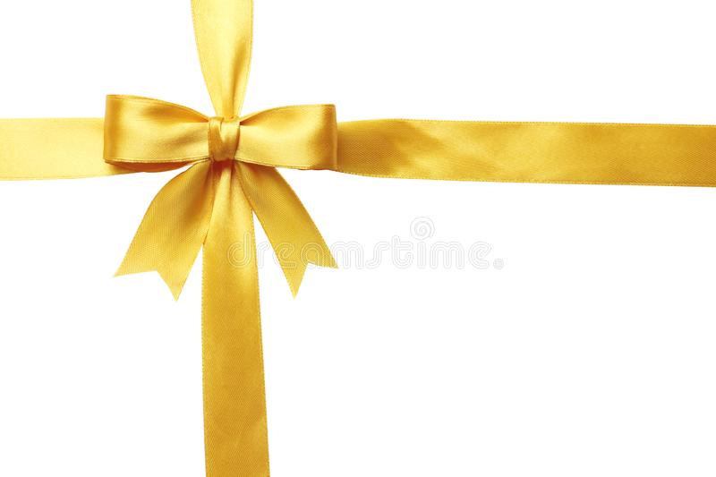 Yellow bow and ribbon isolated on white background stock photos