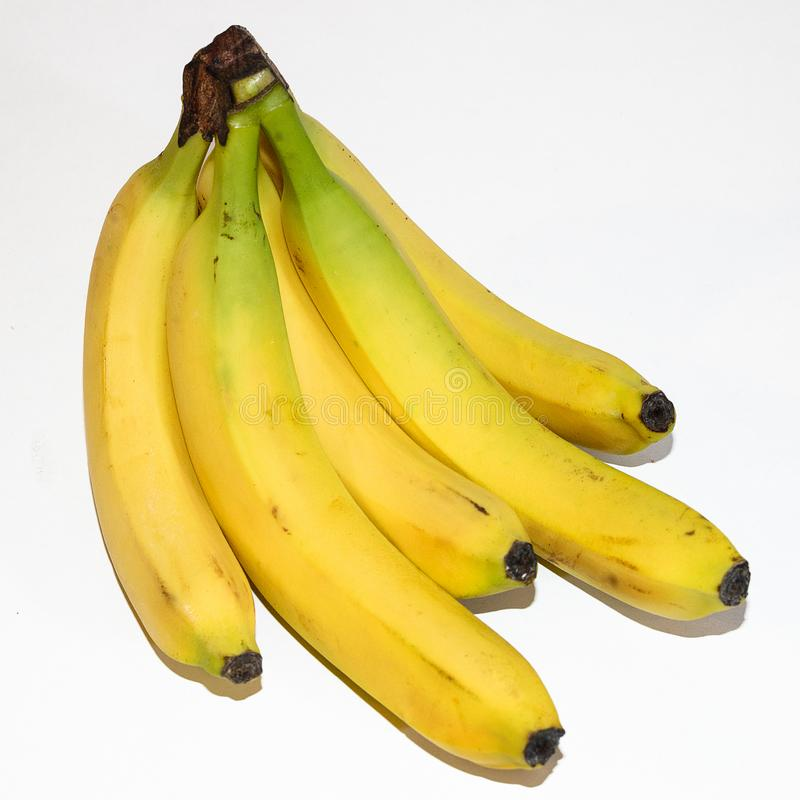 Yellow branch of bananas stock photo