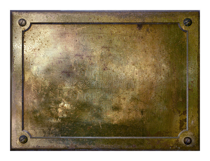 Yellow brass metal plate border royalty free stock images