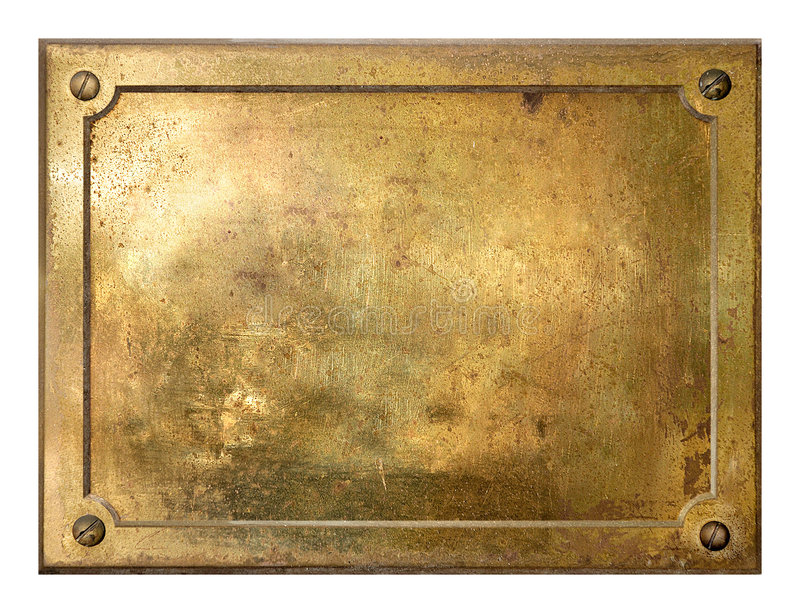 Yellow brass metal plate border stock photography