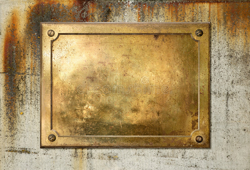 Yellow brass metal plate border. Brass yellow metal plate on grungy concrete background texture stock photography