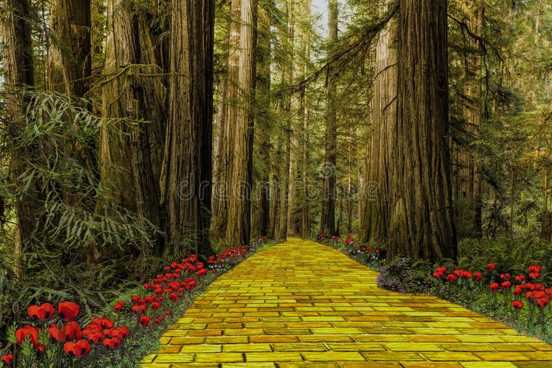Yellow Brick Road leading through a forest. The yellow brick road leading through a forest like in the Wizard of Oz vector illustration