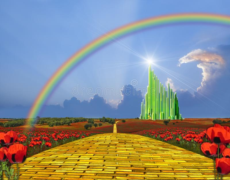 yellow brick road to the emerald city stock illustration