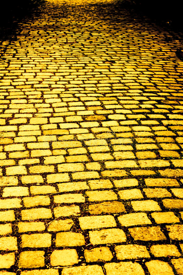 Yellow brick road. Vertical photo