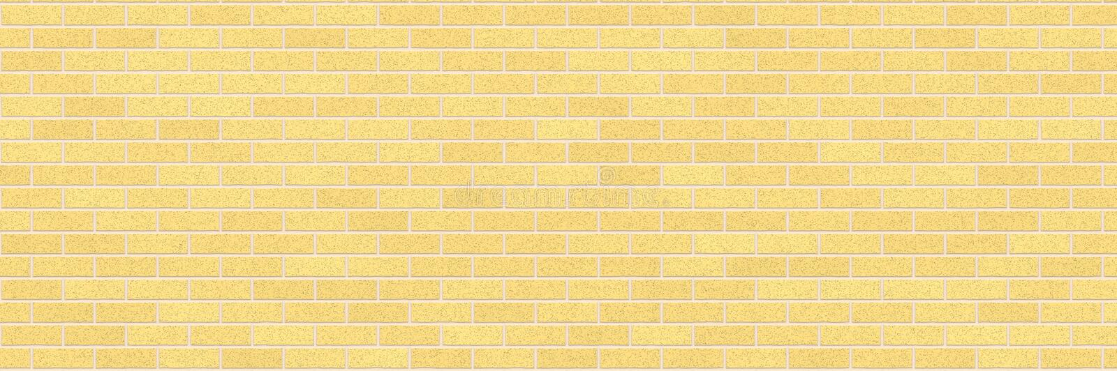 Yellow brick wall abstract background. Texture of bricks. Decorative stone. Realistic wide illustration. Template design for web banners royalty free illustration