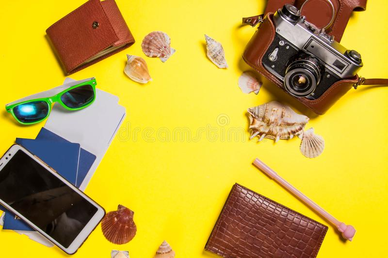 Yellow bright background with nautical decor stock photo