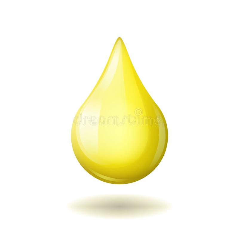 Yellow bright natural oil drop isolated on white background stock illustration