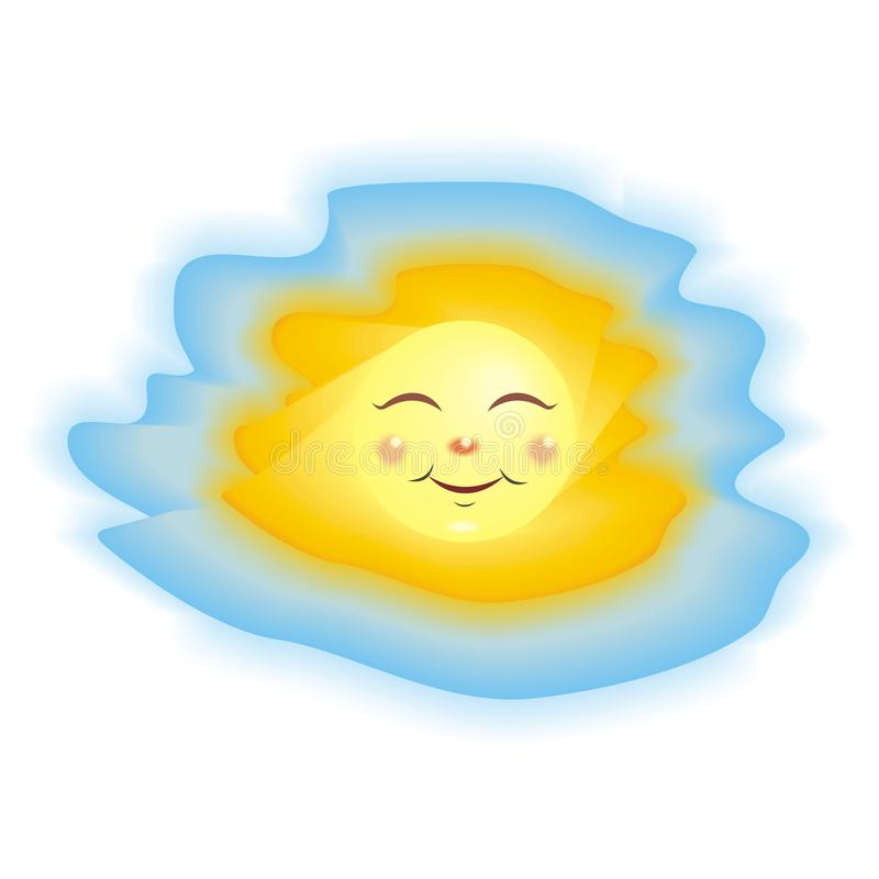 bright yellow sun on a blue sky background vector illustration