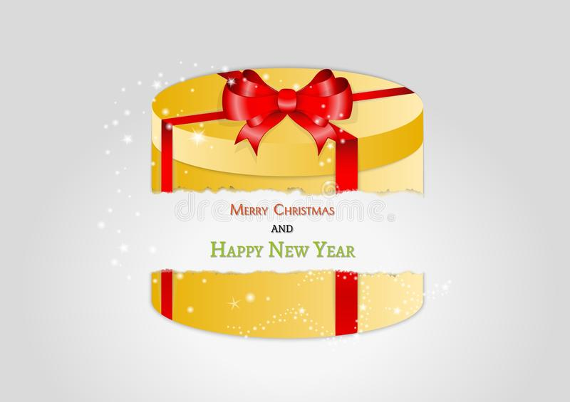 Yellow broken present with red ribbon royalty free illustration