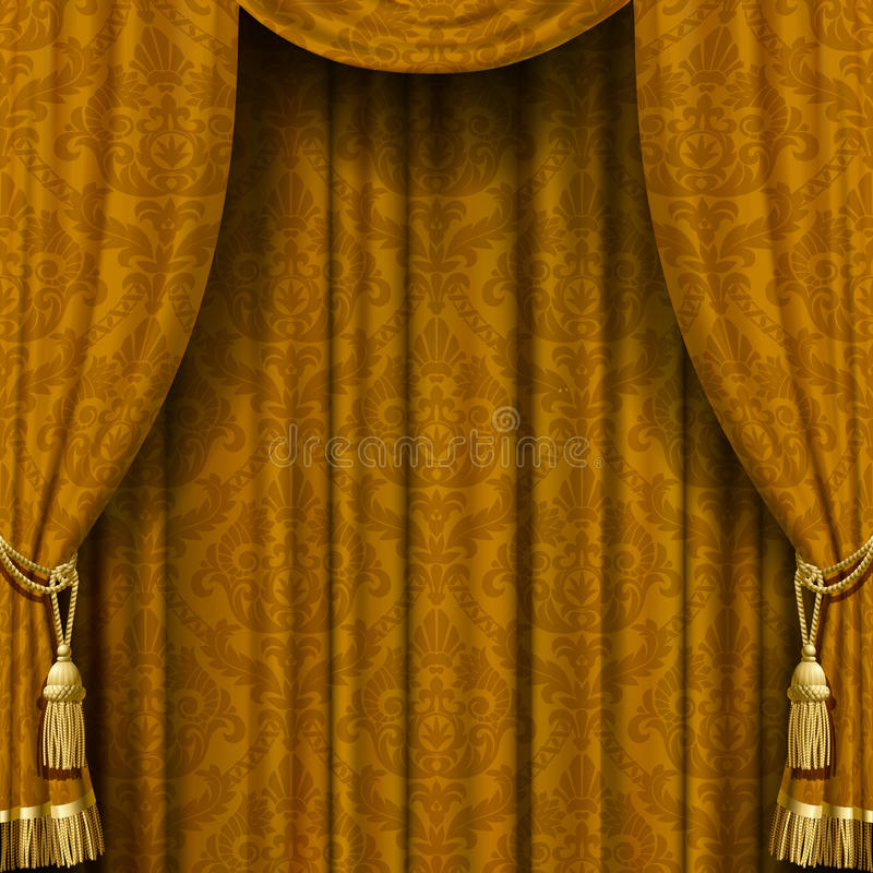 Yellow-brown curtain royalty free illustration