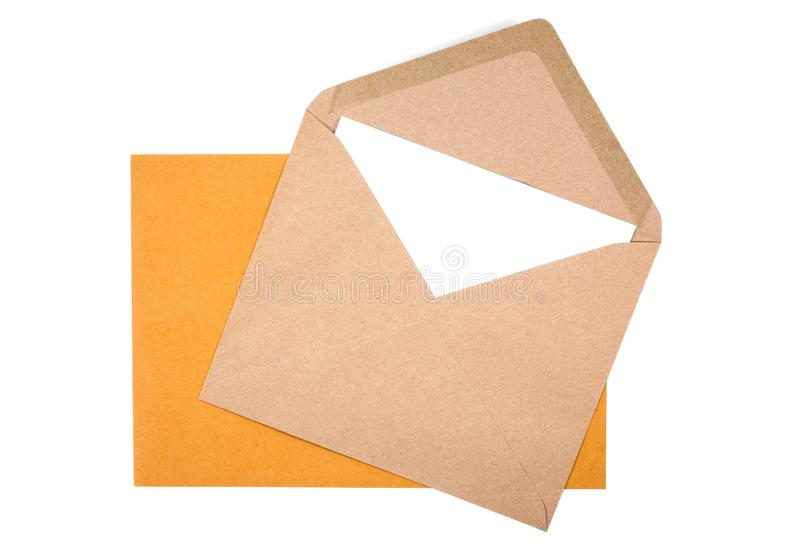Yellow and brown envelope with white paper isolated stock photos