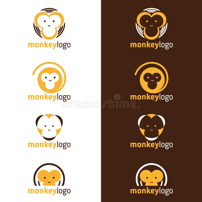 Yellow and Brown head Monkey logo vector set design stock illustration