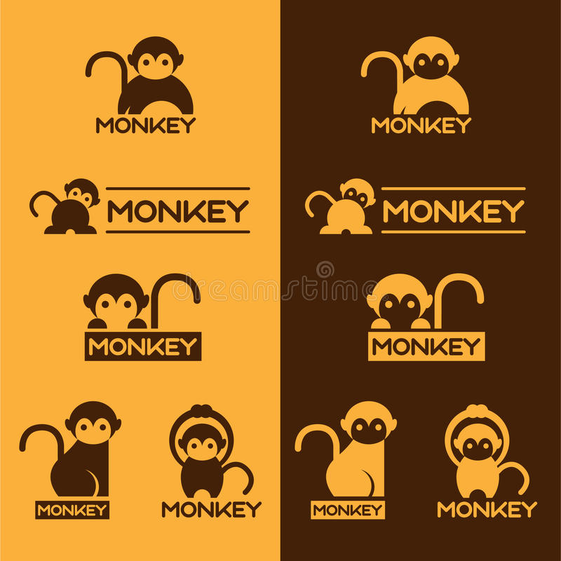 Yellow and Brown Monkey logo vector set design vector illustration