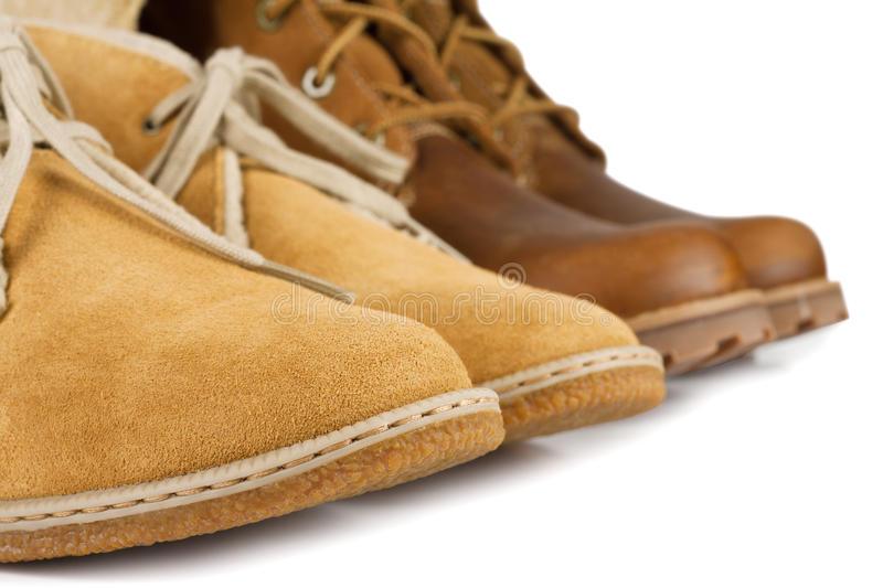 Yellow and brown shoes stock photo