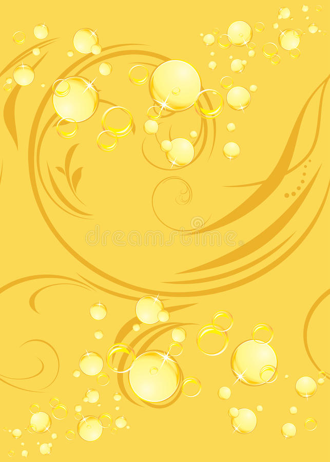 Free Yellow Bubbles On The Decorative Background Royalty Free Stock Photography - 26426497