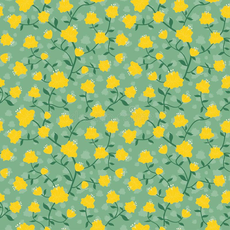 Yellow bud and green leaves seamless repeat pattern flower background royalty free illustration