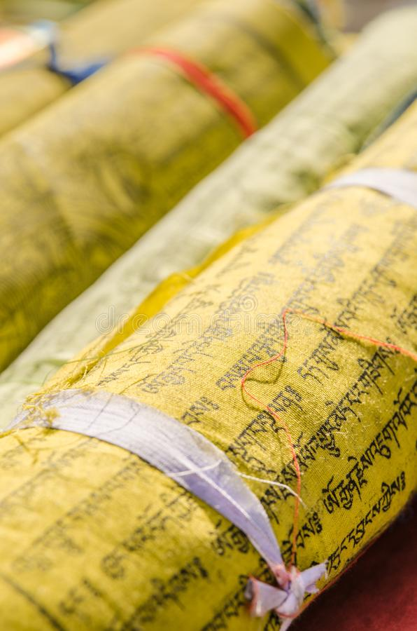 Yellow Buddhist prayer flags royalty free stock image