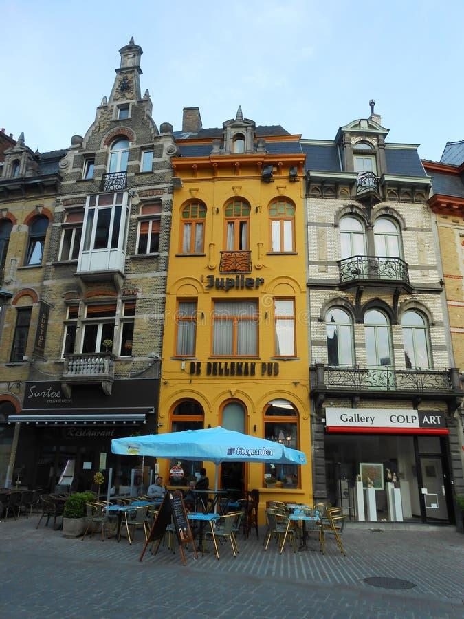 YELLOW BUILDING, GHENT, BELGIUM royalty free stock photo