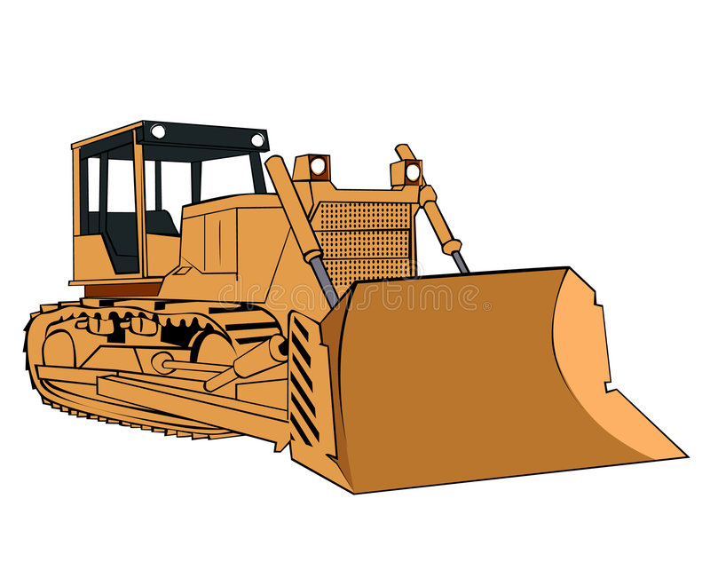The yellow bulldozer vector illustration