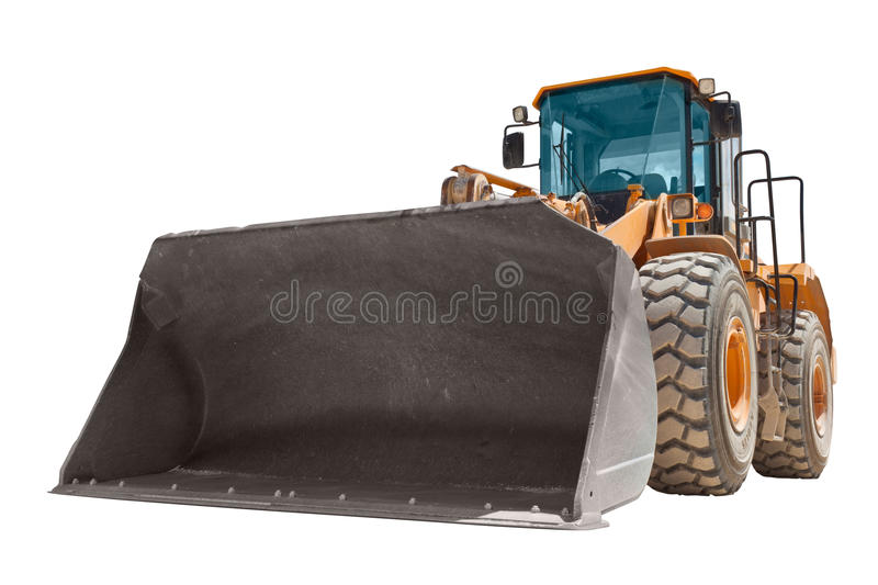 Yellow bulldozer isolated royalty free stock images
