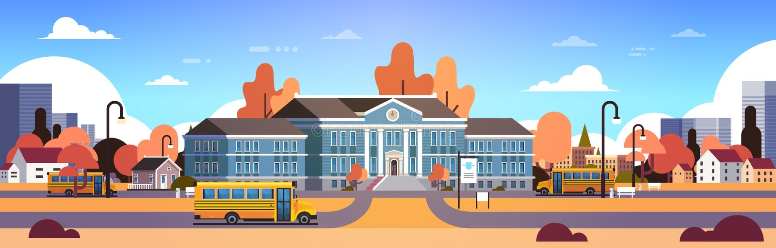 Yellow bus in front of autumn school building yard pupils transport concept 1 september cityscape background banner flat. Vector illustration royalty free illustration