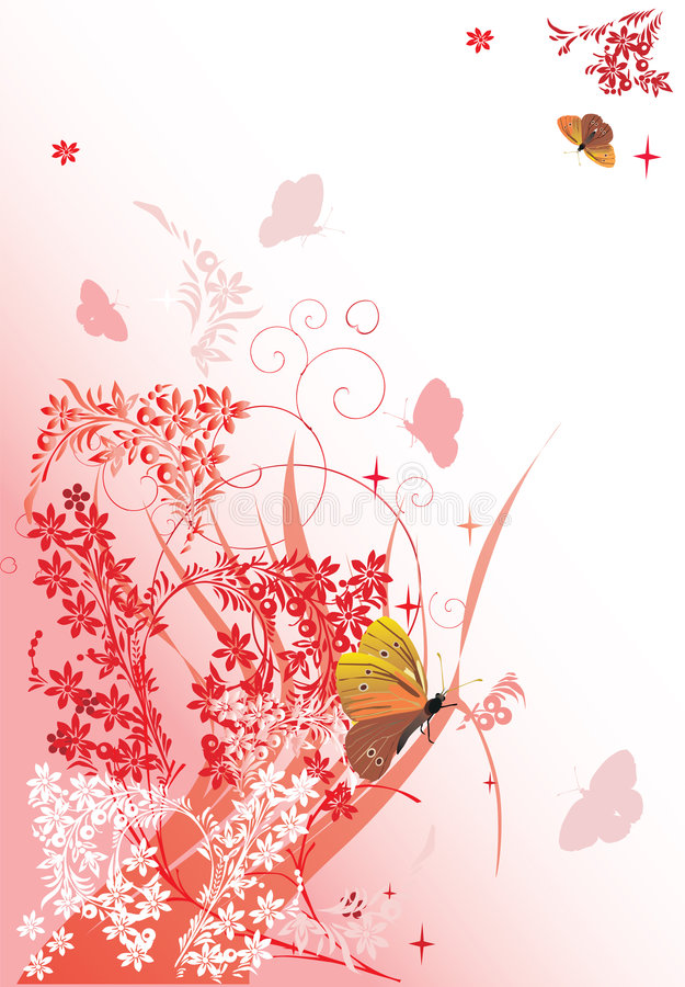 Yellow butterflies and pink flowers stock illustration