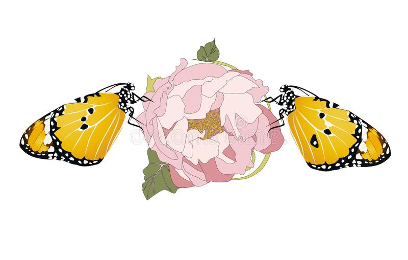 Yellow Butterflies, vector illustration graphic nature color royalty free illustration