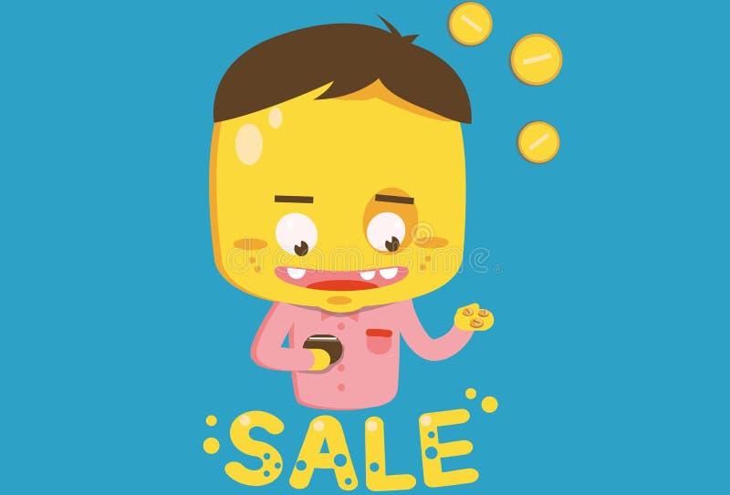 Yellow buyer on sale. Guy on sale wants buy stock illustration