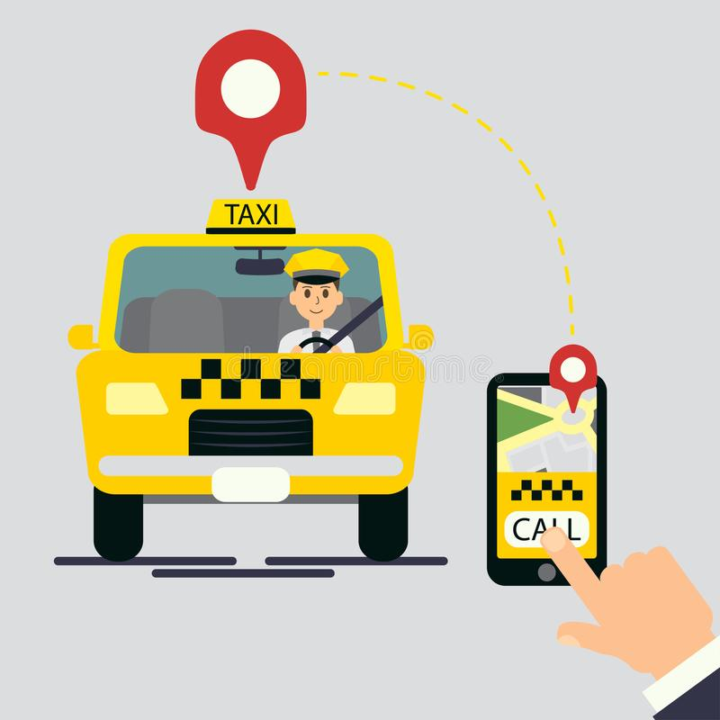 Yellow cab. Hand vector illustration