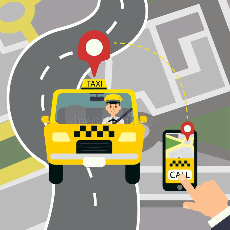 Yellow cab. Hand. Using smartphone and calling taxi vector design royalty free illustration
