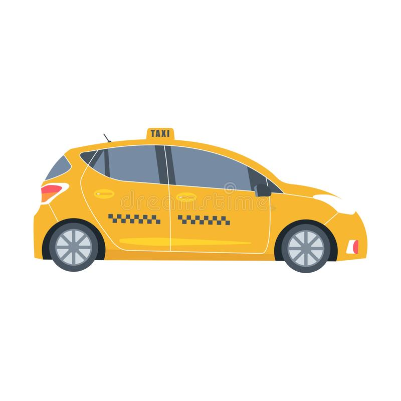 Yellow cab icon isolated on white background. Taxi service conce. Pt. Flat vector illustration royalty free illustration