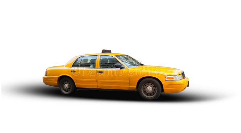 Yellow cab isolated on white background. The taxicabs of New York City are widely recognized icons of the city stock illustration