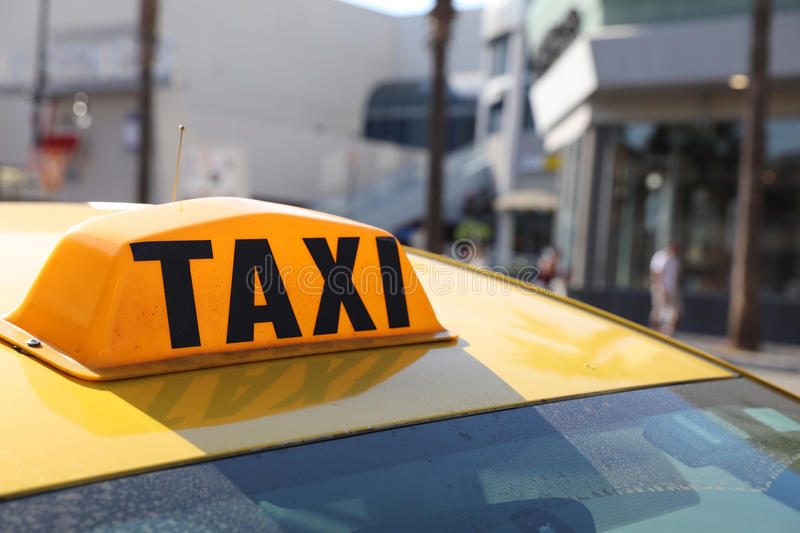 Yellow Cab in LA stock images