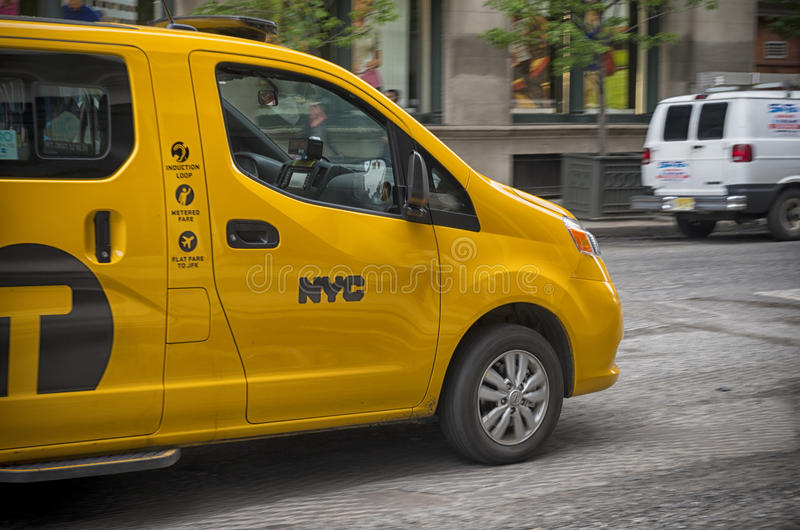 Yellow cab in new york stock photography
