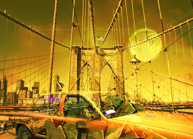 Yellow cab. Surreal digital art. Yellow cab on the Brooklyn bridge. Graffiti elements. Full moon in the sky vector illustration