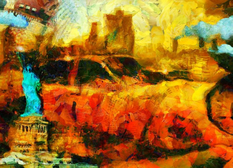 Yellow Cab. Surreal painting. New York taxi. Liberty statue stock illustration