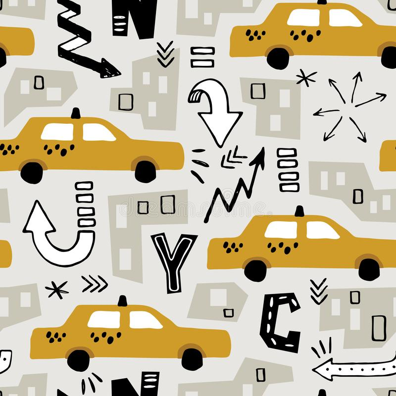 Yellow cab taxi NY. Vector seamless New York background pattern with color cut out paper abstract houses and hand drawn taxi yellow cab for  fabric design stock illustration