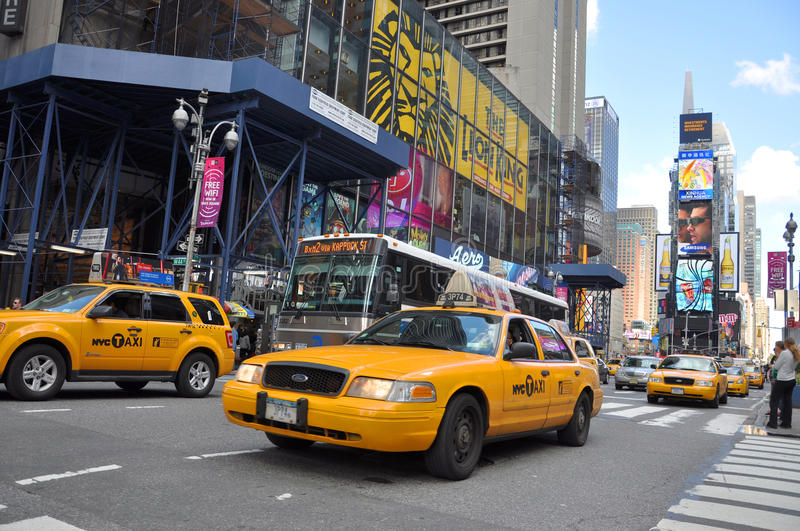 Yellow Cab In Times Square New York City Editorial