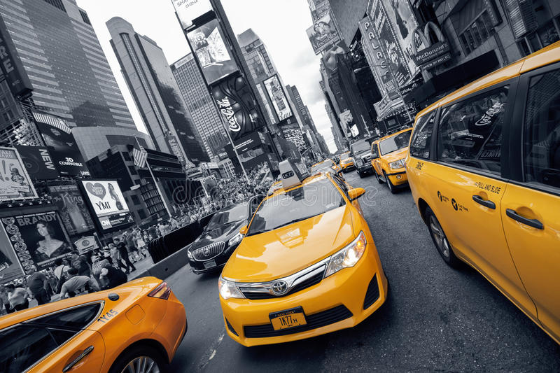 Yellow Cab at Times Square stock photo