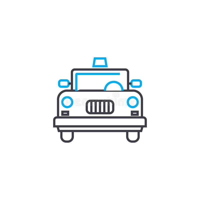 Yellow cab vector thin line stroke icon. Yellow cab outline illustration, linear sign, symbol concept. Yellow cab vector thin line stroke icon. Yellow cab vector illustration