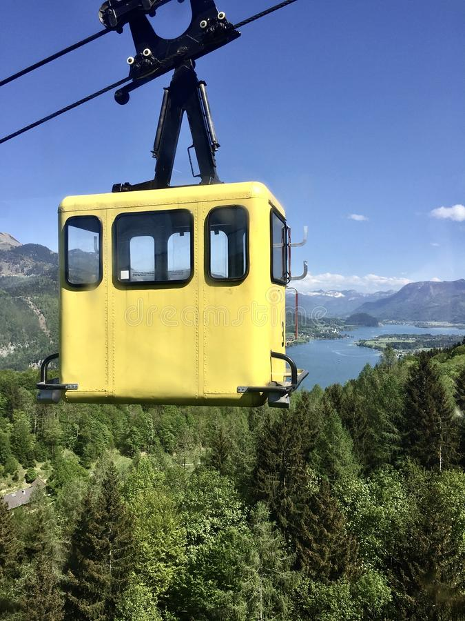 Yellow cable car cabin royalty free stock images